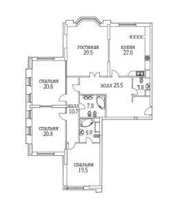 Планировка 4-комнатной квартиры в Алые паруса - тип 1
